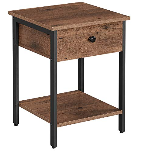 VASAGLE Nachttisch, Nachtkommode, Beistelltisch mit Schublade und Ablage, Nachtschrank, Schlafzimmer, Wohnzimmer, einfacher Aufbau, Industrie-Design, haselnussbraun-schwarz LET055B03