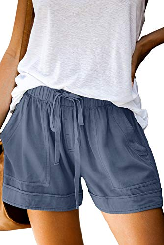 QACOHU Womens Casual Drawstring Elastic Waist Comfy Summer Pure Color Shorts with Pockets Dusty Blue L