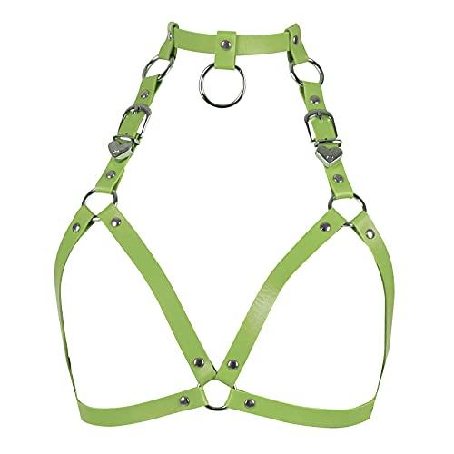 BANSSGOTH Tops de cuero para mujer, lencería, arnés de jaula completa, tamaño ajustable, liguero gótico punk, cinturón de cintura, festival Rave
