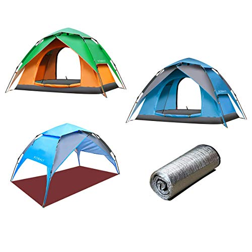 Fasherati All Season Double Cannopy Camping Tent (Tent + Sun Sheltre + Additional Aluminium Ground Sheet) for 2-3 Persons