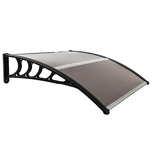 YYAO Window Awning Door Awning Canopy Polycarbonate Cover Outdoor Rain Awning Sun Shetter,39.4 Inch x 39.4 Inch,Brown Board & Black Holder