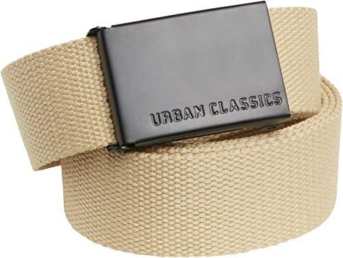 Urban Classics Canvas Belt Cintura con Fibbia Scorrevole in Metallo, Regolabile, 100% Poliestere, Lunghezza 118 cm, Beige/Nero, taglia unica Unisex
