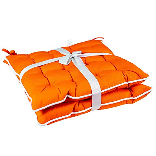 Unknown1 2pk Orange Seat Cushion with Flame Retardant Filling Solid Traditional Polyester Water Resistant