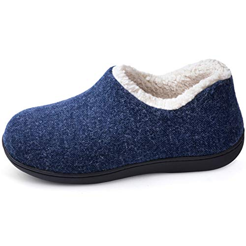 ULTRAIDEAS Women's Cozy Memory Foam Closed Back Slippers with Warm Fleece Lining, Wool-Like Blend Cotton House Shoes with Anti-Slip Indoor Outdoor Rubber Sole (Navy Blue,Size 10)