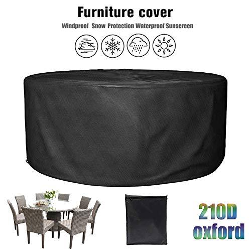 LWXTY Redondas Impermeable Cubierta De Muebles De Jardín, Fundas De Muebles Resistente Al Polvo Anti-UV Protección Exterior Muebles De Jardín Cubiertas De Mesa Y Silla,280x110cm/9x4ft