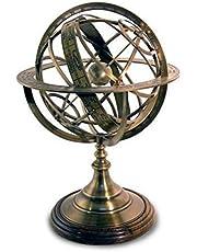 CAPRILO Figura Decorativa Marinera de Latón Reloj Solar Esfera Armilar. Adornos y Esculturas. Decoración Hogar. Regalos Originales. 50 x 35 x 35 cm.