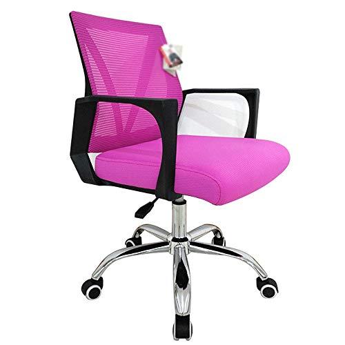JCCOZ-URG Computer Office Chair sedia Mesh traspirante/sedia della maglia Sedia di cuoio girante Conference Chair sedia del personale di sollevamento, rosa/nero JCCOZ-URG (Color : E)