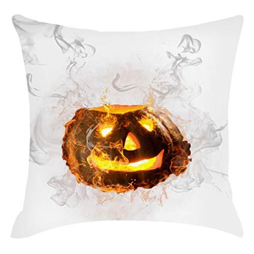 jieGorge Halloween Pumpkin Pillow Cover Pillowcases Decorative Sofa Cushion Cover 45x45cm , Pillow Case for Halloween Day (F)