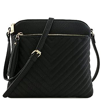 Chevron Quilted Medium Crossbody Bag with Tassel Accent  Black