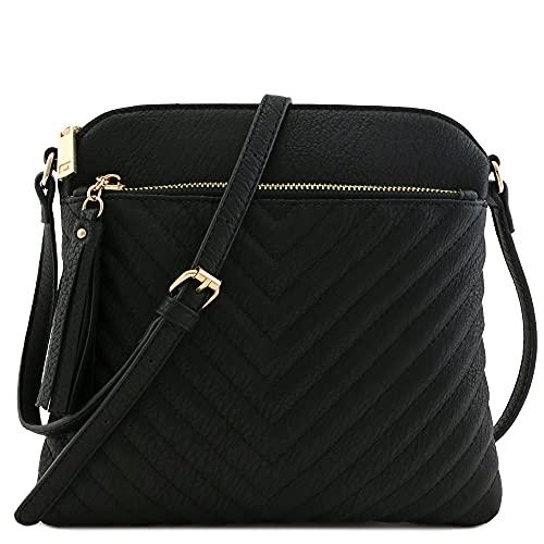 Chevron Quilted Medium Crossbody Bag with Tassel Accent (Black)