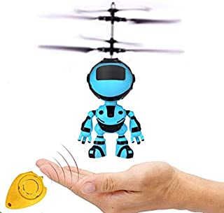 Anda Robot Toy Gift Boy 6 Years Old, Blue Mini RC and Hand Control Flight Helicopter Robot Fairy Tale Doll Birthday Christ...