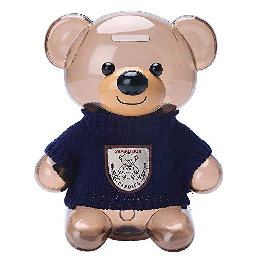 Kids Coin Bank, Bear Clear Plastic Large Capacity Coin Bank with Opening, Money Box Gifts for Kids,Transparent Coin Saving Box