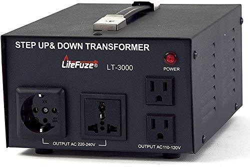 LiteFuze - Transformador de Voltaje de 3000 W, Paso Arriba/Abajo, 110 V/220 V, protección contra interruptores de Circuito, Alta...