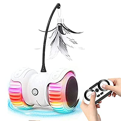 FRLONE Interactive Cat Toys for Indoor Cats, USB Charging Auto/Remote Mode Timed with Colorful Led Wheels 6 Feathers Kitty Gadget Electronic Moving Cat Toys