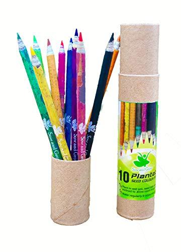 Sow and Grow 10 Lápices De Colores De Semillas Recicladas Y Plantables Con Una Caja De Lápices Reutilizable Gratis |Respetuoso Del Medio Ambiente |Mejor Regalo De Devolución Para Niños