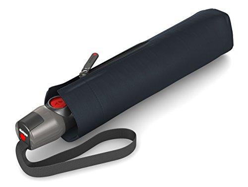 Knirps - Ombrello tascabile T.200 Duomatic Solids - A scomparsa automatica - Pieghevole - Resistente alle intemperie - Antivento - Navy