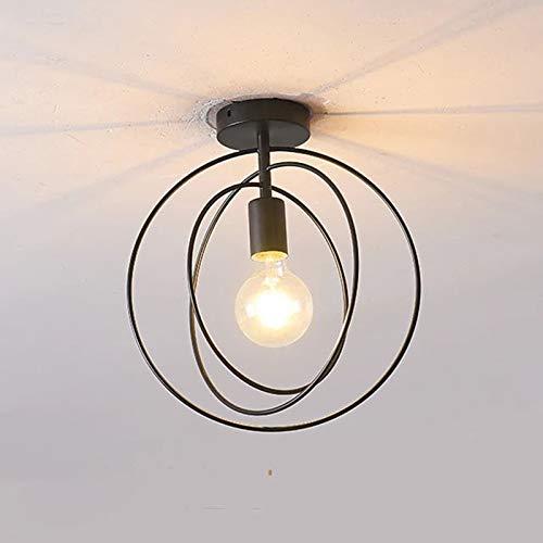 FLAUU Escandinavo Lámpara De Techo Simple Luces De La Montura De La Escalera Nuevo Diseño Creativo Novedad Acabados Pintados Metal Plafón De Techo para Dormitorio Comedor[energía Clase A+],Negro
