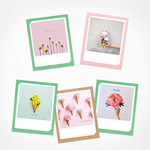 PICKMOTION Set mit 5 Foto-Gruß-Karten mit Umschlag Grüße & Wünsche, Premium Instagram-Geburtstag-Karten, handgemachte Klappkarten, lustige Sprüche & Motive, Tiere, Blumen, bunt, BKK-0139