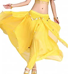 Yellow Belly Dance Chiffon Skirt with Coins