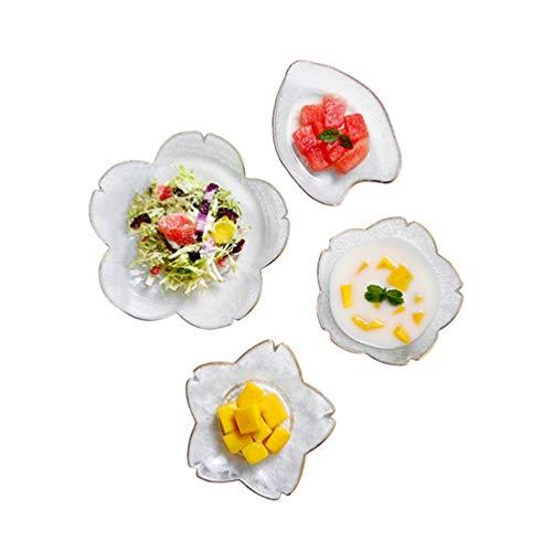 Hemoton 4 Stks Glazen Slakom Clear Fruit Dessert Kom Snack Kom Voedsel Serveerschaal Voor Thuis Restaurant Keuken (Vier Patronen)