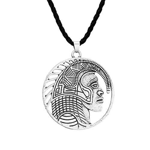 Chereda Collar con colgante indio de plata para hombre y mujer, amuleto de la cultura azteca mexicana, bohemio, joyería maya, adornos