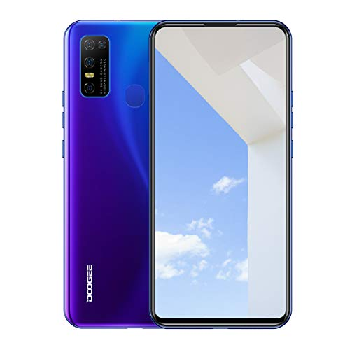 "DOOGEE N30 Unlocked Cell Phones(4GB+128GB) 6.55"" FHD+Perforated Screen, 4500mAh High Capacity Battery Smartphone with 16MP AI Quad Camera, Android 10 and Dual 4G Volte(Dreamy Blue)"