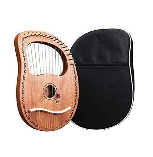 16文字列ハープセット、リラハープ、チューニングレンチと16の金属弦マホガニーライハープアップと黒のギグバッグを選びます