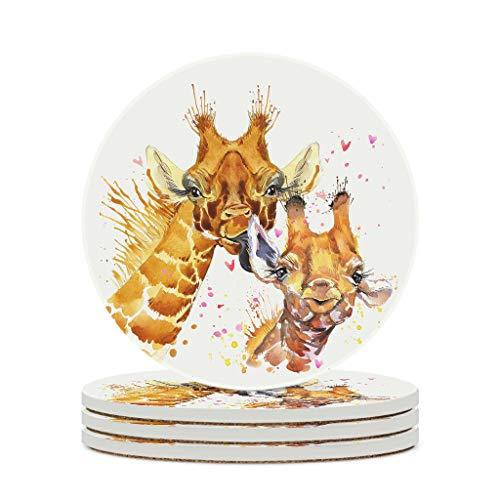 Juego de posavasos de jirafa para bebé, antideslizantes, personalizables, para café, bebidas, vajilla para cocina, 4 unidades, color blanco