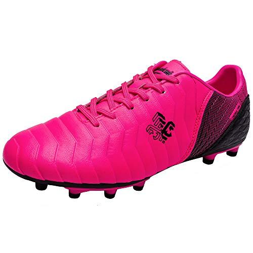 Zapatillas de fútbol Niña FG/TF Profesionales Zapatos de fútbol Aire Libre Atletismo Calzado de Entrenamiento Antideslizante Botas de fútbol para NiñosRosado EU 35