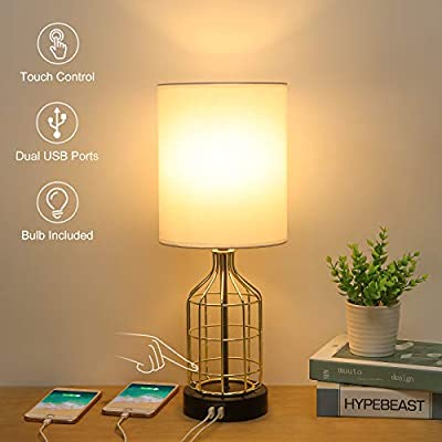 Bedside Touch Control Table Lamp with 2 USB Charging Ports, Boncoo 3 Way Dimmable USB Side Table Lamp with Golden Birdcage Base Modern Nightstand lamp for Bedroom, Living Room, 6W LED Bulb Included