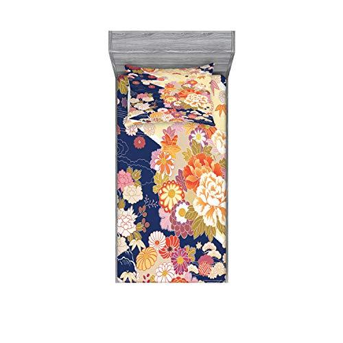 Ambesonne Japanese Fitted Sheet & Pillow Sham Set, Traditional Kimono Motifs Composition Floral Patterns Vintage Artwork, Decorative Printed 2 Piece Bedding Decor Set, Twin, Cream Indigo