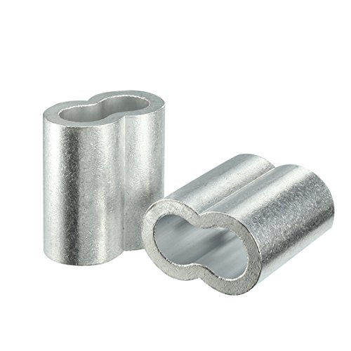 Aexit 12mm 1/2-inch Chain & Rope Fittings Cable Wire Rope Aluminum Sleeves Clip Crimping Wire Rope Sleeves Loop 4pcs