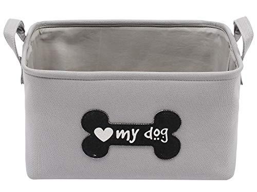 Cubo de almacenamiento para perros de lona, duradero, cesta de juguetes para perros, ideal para organizar juguetes de mascotas, mantas, correas, huesos y golosinas.