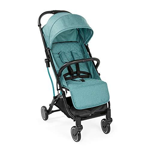 Chicco Trolley me Buggy wie ein Koffertrolley, Einhand-Schließmechanismus, inkl. Tragegriff für den Transport und Regenschutz, türkis, ab Geburt bis 15 kg