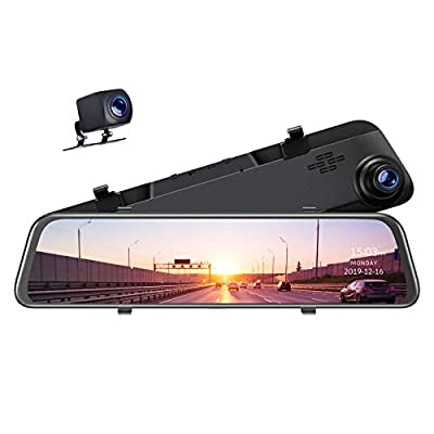 """TOGUARD 2.5K Mirror Dash Cam GPS Voice Control Backup Camera, 12"""" Touch Screen Front and Rear Dual Lens Dash Camera for Cars Waterproof Rear View Mirror Camera with Parking Assistance Night Vision"""