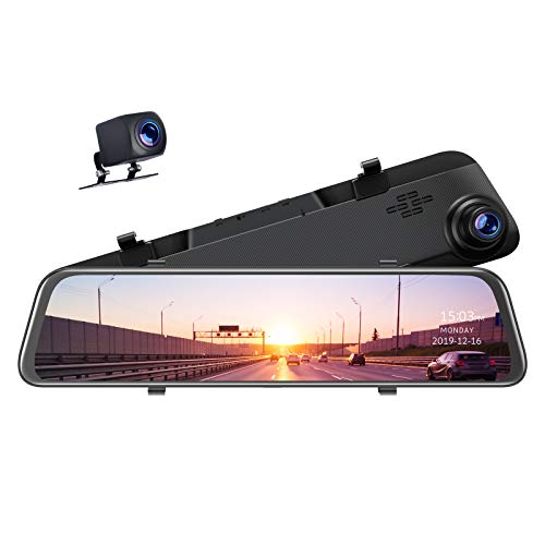 TOGUARD 12 inch 2.5K Mirror Dash Cam for Cars GPS Voice Control Rear View Camera Touch Screen Front and Rear Dual Lens Dash Cameras Waterproof Backup Camera with Parking Assistance Night Vision