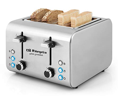 Orbegozo TO 8000 - Tostadora 4 rebanadas, cuerpo de acero inoxidable, 7 niveles de tostado, centrado automático del pan, función descongelado y recalentamiento, 1600 W de potencia, bandeja recogemigas