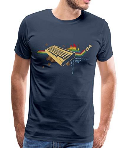 Retro Tastatur 64 Geek Männer Premium T-Shirt, 4XL, Navy