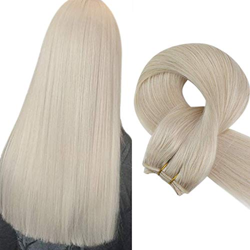 Sunny Hair Weft Extensions Sew in Hair Extensions Human Hair Platinum White Blonde Brazilian Hair Bundles Weave in Human Hair Extensions 24inch 100g