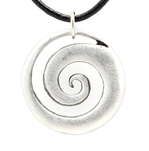 Pewter Maori Spiral Koru Peace and Tranquility Pendant on Leather Necklace