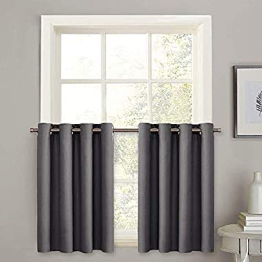 PONY DANCE Window Curtain Valances - Kitchen Tiers Short Curtains Blackout Drapes Half Length Solid Panels Thermal Insulated Light Block for Bathroom/Bedroom, 52  W x 36  L, Grey, Set of 2