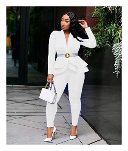 ASVNDD Frauen-Winter-Frauen-Set Anzug Voll Sleeve Raff-Bleistift-Hosen-Anzug Zweiteiler Büro-Dame Outfits Uniform (Color : White, Size : X-Large)