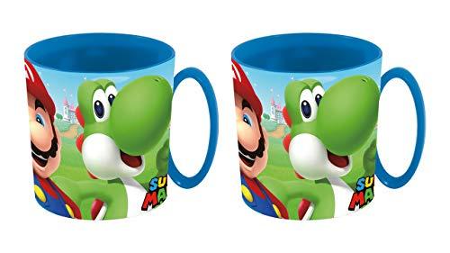 2713; Pak van 2 Super Mario-bekers; plastic product; magnetron veilig; BPA vrij; 360 ml capaciteit