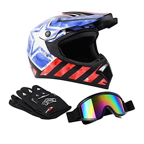 Samger DOT Erwachsener Off Road Helm Motocross Helm Dirt Bike ATV Motorrad Helm Handschuhe Brille (S, Schwarz Gestreift)