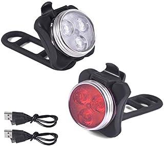 Viccioo Luces Bicicleta Recargable LED,Juego de Luces LED para Bicicleta,Faro de Bicicleta de luz Trasera de combinación con 5 Modos de Destellos, 2 Cable USB