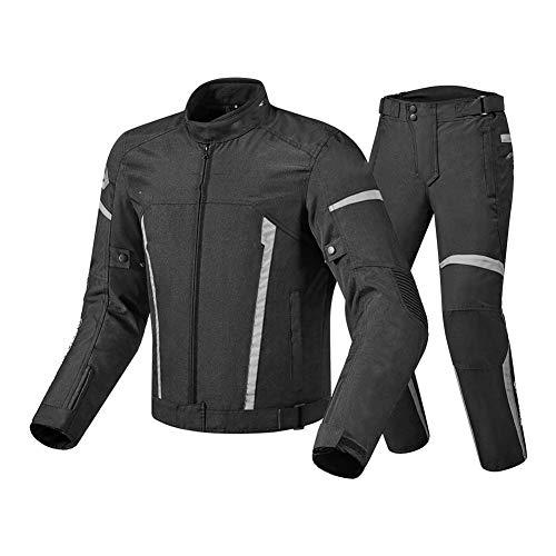NCBH Conjuntos de Ropa para Moto Ropa Protectora de Motocicleta Impermeable y a Prueba de Viento con Forro extraíble y 8 Piezas de protección Adecuado para Hombres y Mujeres,Gris,XXXL