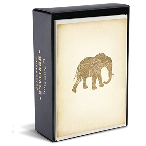 """Graphique Heritage Elephant La Petite Presse Notecards, 10 Durable Embossed and Embellished Gold Foil Elephant Notes with Matching Envelopes, 3.25"""" x 4.75"""""""