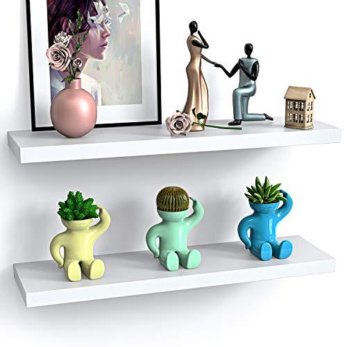 STOREMIC Wandregal, einfach zu installierendes Wandregal 2er-Set, Moderne dekorative Ausstellungsregale mit großem Stauraum L60 x B23,5 cm für Schlafzimmer, Küche, Büro, Wohnzimmer, weiß