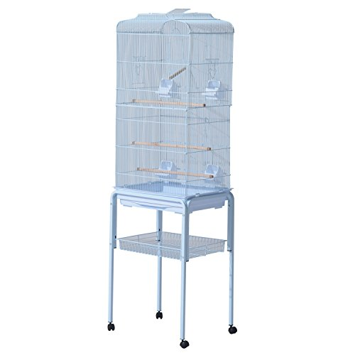 PawHut 63' Metal Indoor Bird Cage Starter Kit With Detachable Rolling Stand, Storage Basket, And Accessories, White
