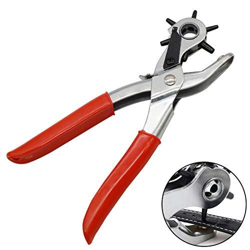 Perforadora de Cinturón de Varios Tamaños Alicates para Taladrar Cuero Pinza Perforador de Cuero con Agujeros Alicates para Perforar Cuero y Cinturones para Trabajo Pesado Múltiple Tamaño con